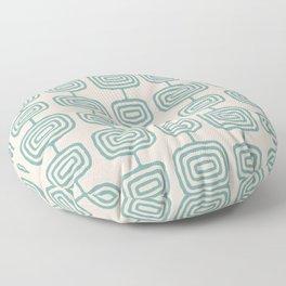 Mid Century Modern Atomic Rings Pattern Foam Green and beige 3 Floor Pillow