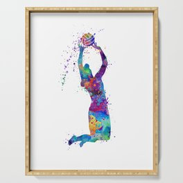 Volleyball Girl Setter Colorful Watercolor Art Serving Tray