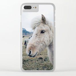 White Horse in Iceland Clear iPhone Case