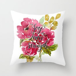 Joy of the Lord Watercolor Floral Throw Pillow
