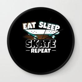Skateboarder Eat Sleep Skate Repeat Wall Clock