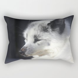 White fox close-up in sunny day. Rectangular Pillow