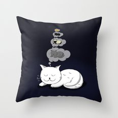 A cat dreaming of a cat that dreams of dreaming of a cat that dreams of dreaming of a cat. Throw Pillow
