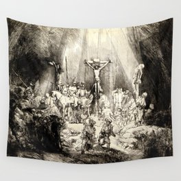 The Three Crosses, 3rd State Wall Tapestry