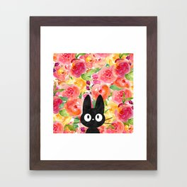 Jiji in Bloom Framed Art Print