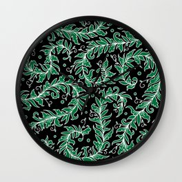 Lacy Leaves Black and Green  Wall Clock
