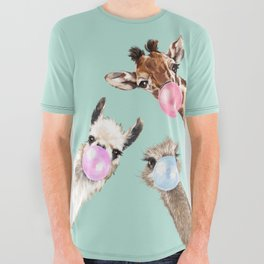 Bubble Gum Gang in Green All Over Graphic Tee