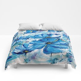 Abstract Blue Poppies Comforters
