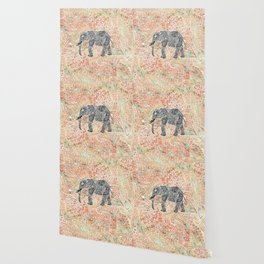 Tribal Paisley Elephant Colorful Henna Floral Pattern Wallpaper