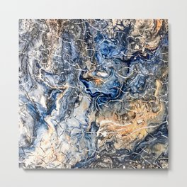 Breaking Waves Abstract Painting Metal Print