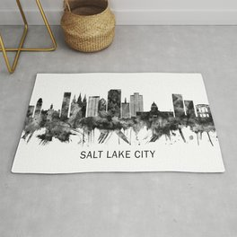 Salt Lake City Utah Skyline BW Rug