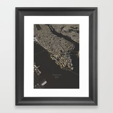 Manhattan city map Framed Art Print