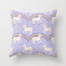 Unicorn Pattern on Pastel Purple Throw Pillow