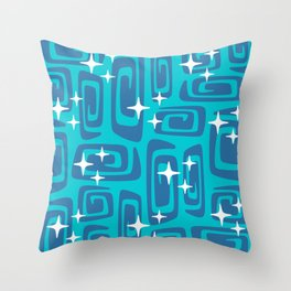 Mid Century Modern Cosmic Galaxies 436 Blue and Turquoise Throw Pillow