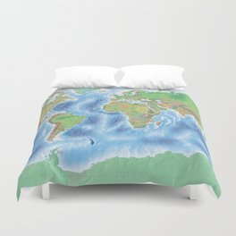 Physical world map with countries Duvet Cover