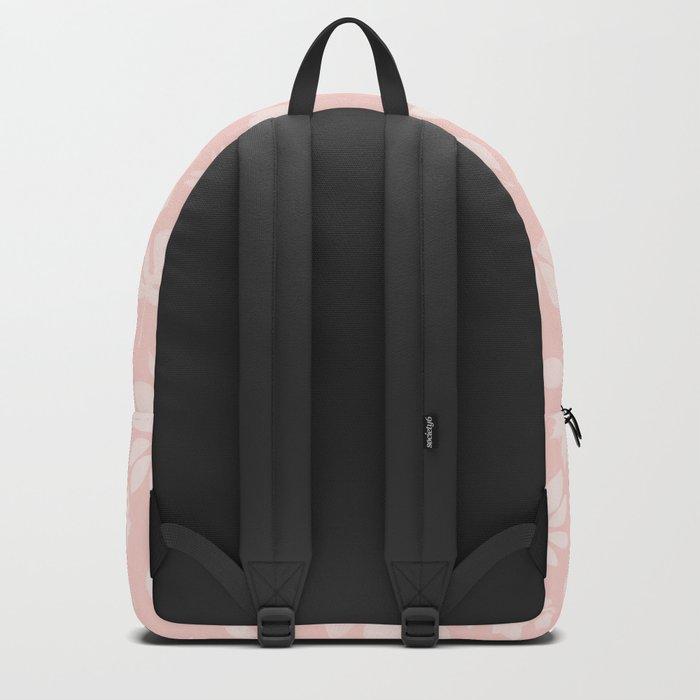 Pink Coral Floral Leaves Backpack