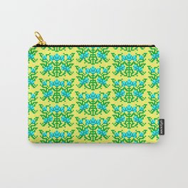 Pixel Floral Pattern - The Crimson Diamond Room Wallpaper Carry-All Pouch