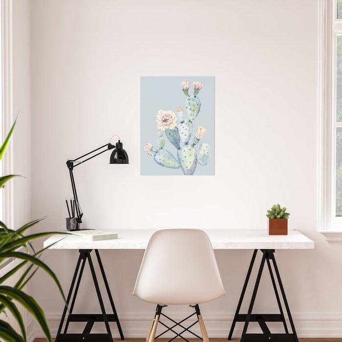 Prettiest Rose Cactus Blue Poster