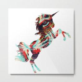 Unicorn Meets Lion Metal Print