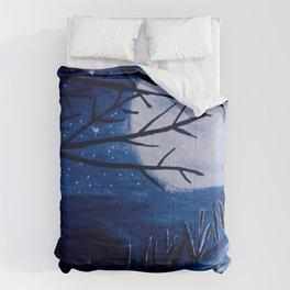 Moon reflection in blue shades Comforters