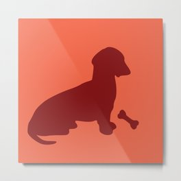 Dachshund Art red color Metal Print