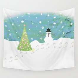 Snowman on Christmas Day Wall Tapestry