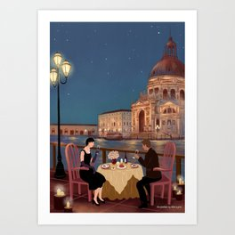 candlelight dinner Art Print
