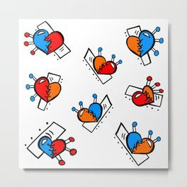 Hearts with Stitches - Blue Red Orange Metal Print