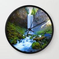 waterfall Wall Clocks featuring Waterfall by 2sweet4words Designs