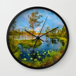 Autumn on the river Wall Clock