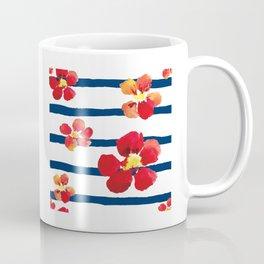 Red Flowers, Flower Art, Red Art, Blue And White, Stripe Art Coffee Mug