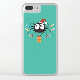 Happy Christmas Santa Spider Clear iPhone Case