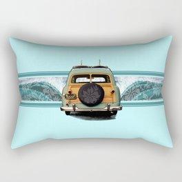 Woody Wave Hawaiian Surf Illustration  Rectangular Pillow