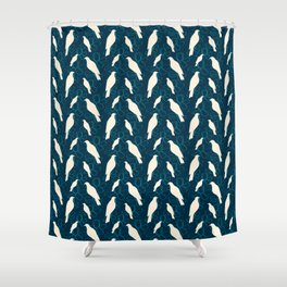 Kereru and magnolia - navy  Shower Curtain