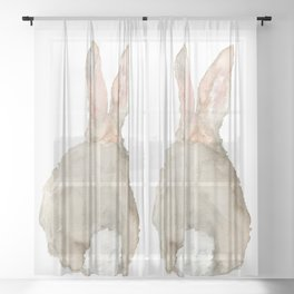 Cottontail Bunny Rabbit Watercolor - Back Sheer Curtain