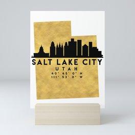 SALT LAKE CITY UTAH SILHOUETTE SKYLINE MAP ART Mini Art Print