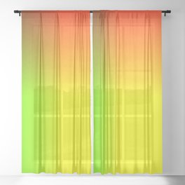 Rainbow red, yellow, and green ombre flame print Sheer Curtain