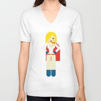 girl power V-neck T-shirts featuring Power Girl by Marco Recuero