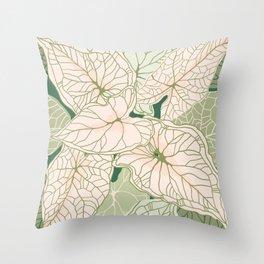 Caladium leaves pattern Throw Pillow