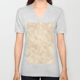 Butterscotch Silk Moire Pattern Unisex V-Neck
