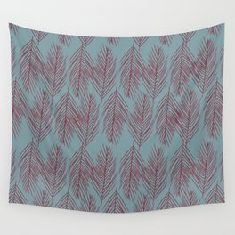 Red Branches On Blue Wall Tapestry