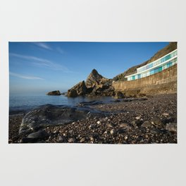 Meadfoot Beach Huts And Imposing Cliffs Rug