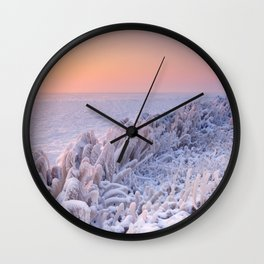 Sunrise over a frozen lake in The Netherlands Wall Clock