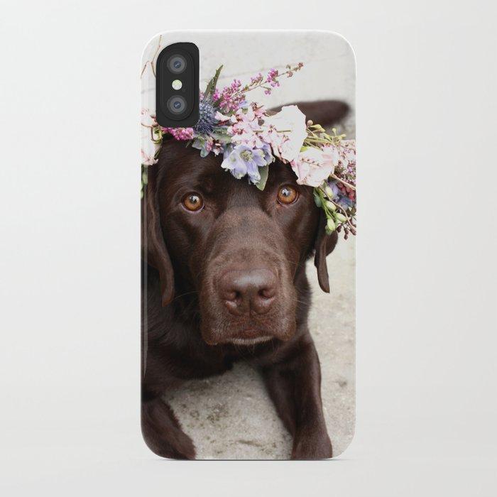 Flower Crown Beautiful Dog Portrait iPhone Case
