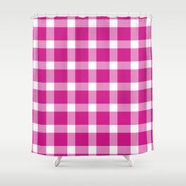 Plaid Hot Pink Shower Curtain