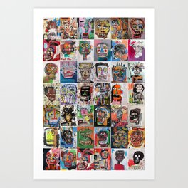 Basquiat Faces Montage Art Print