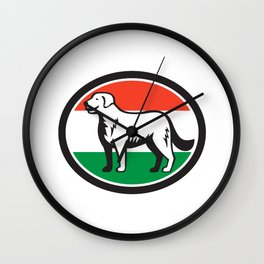 Kuvasz Dog Hungarian Flag Oval Retro Wall Clock