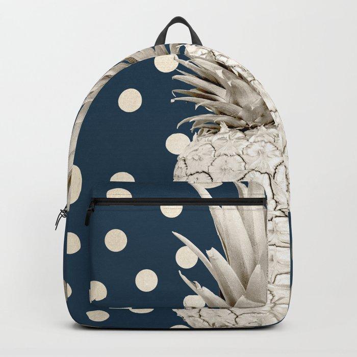 Gold Pineapple Polka Dots 2 Backpack