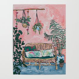 Rattan Bench in Painterly Pink Jungle Room Poster