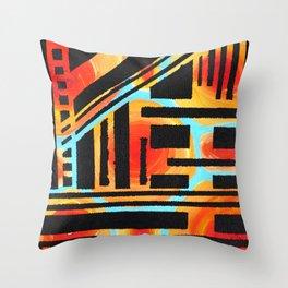 Orangle Circle Black Slant Throw Pillow